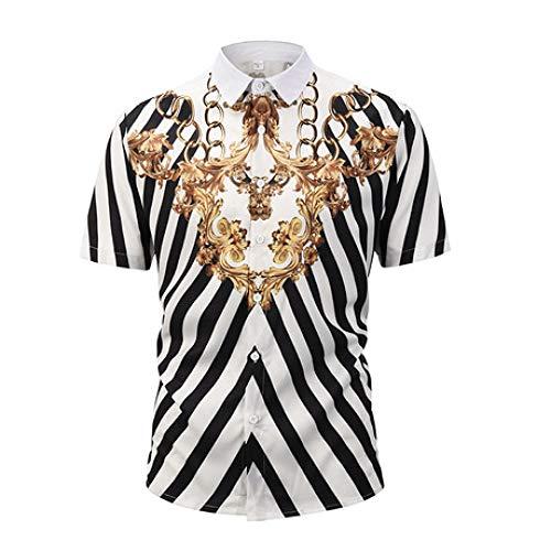 Camisa de compresión de los Hombres Camisa de Punto de los Hombres Hawaianos Cadena de Oro de Manga Corta Patrón de Viento Europeo y Americano