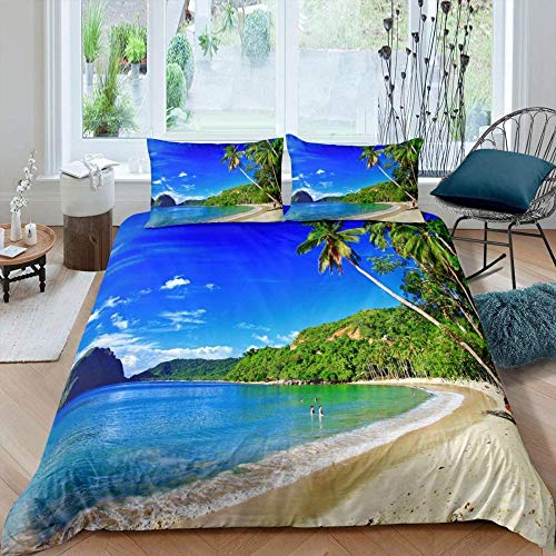 Msortatnl Duvet Cover With Pillow Cases Nature Theme Hawaii Palm Trees Tropical Clouds And Seaside - Quilt Cover Bedding Bedroom Set King (240 X 220 Cm)