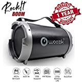 Woozik S12B Wireless Speaker, Bluetooth Boombox with Built-In 4' Subwoofer, SD Card Slot, LED Display, FM Radio, USB Output, AUX Input