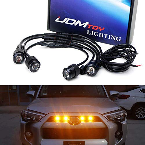 iJDMTOY 4pc Raptor Style 3W High Power LED Grille Lighting Kit Compatible with Toyota FJ Cruiser 4Runner Tacoma etc, 2500K Amber Projector Lens Spot Beam LED Lights