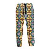 AEMAPE Pantalones de chándal Retro geométricos Amarillos para Hombre Pantalones de Jogging con Bolsillos