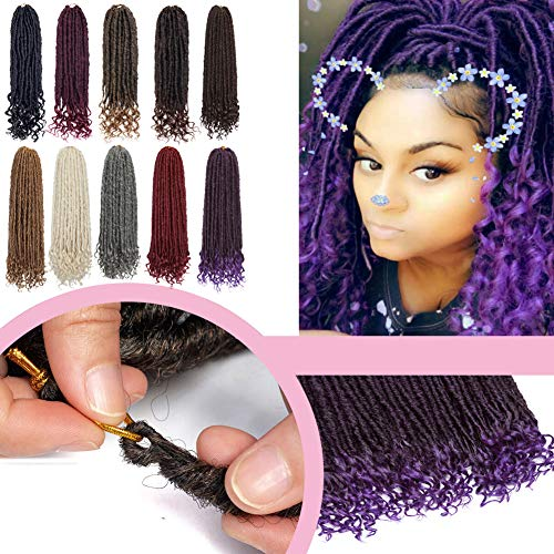 "Straight Goddess Crochet Synthetic Braiding Hairpieces with Wavy Curly Ends 16"" 6 Packs Faux Locs Hair Braids Crochet Locs for Women Mixed Color Black/Purple"