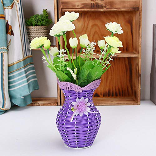 TELMU Retro Keramik Vase Foreign Home Rattan Blumenkorb handgefertigten Kunststoff E