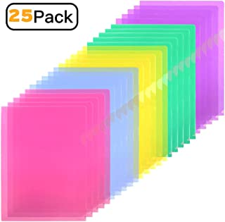 Sooez Clear Document Folder Project Pockets, 25 Pack Letter Size Plastic Document Folders US Paper Poly Jacket Sleeves Folders Transparent L-Type, 5 Assorted Colors(Yellow/Green/Blue/Purple/Red)