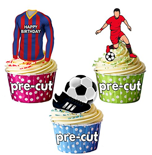 AK Giftshop PRECUT Happy Birthday Football Party Pack - Edible Cupcake Toppers/Cake Decorations Barcelona Kleuren (Pak van 12)
