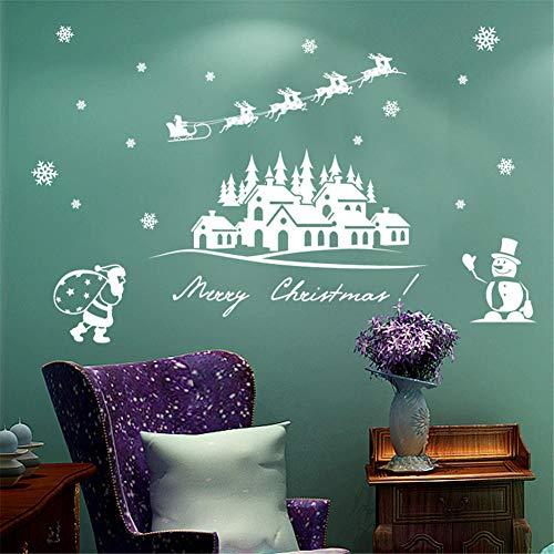 cooldeerydm Nieuwe Kerst Decoratie Applique Window Sticker Verwijderbare DIY Glas Muur Vrolijk Kerstmis Sneeuwvlok Kerstman Herten & Slee Rijden Sticker