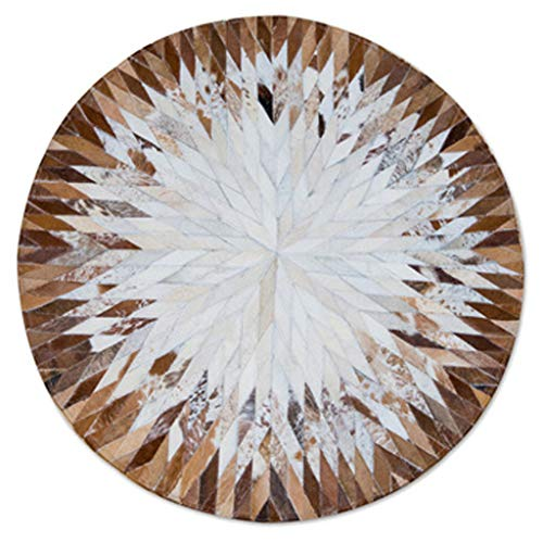 HYXI-Rugs Contemporary Nordic Round Cowhide Rug Handmade Splicing Clubhouse Cloakroom Swivel Chair Pad Bedroom Bedside Blanket Easy to Clean Carpet