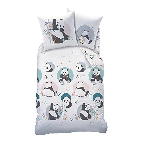Matt & Rosa Panda Juego, 100% Cotton, Blanco, 140x 200+ 63x 63