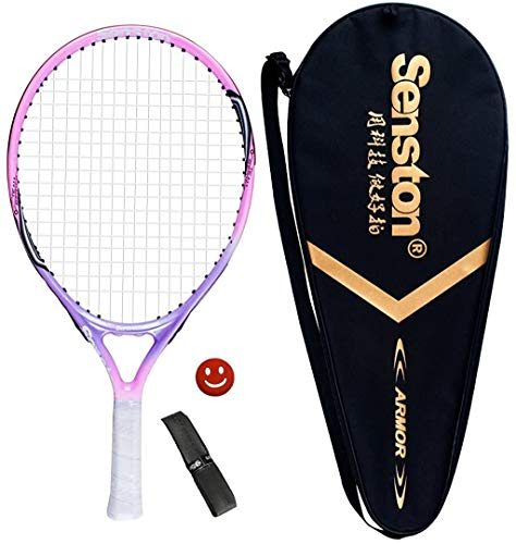 """Senston 19"""" Junior Tennis Racquet for Kids Children Boys Girls Tennis Rackets with Racket Cover Pink with Cover Tennis Overgrip Vibration Damper"""