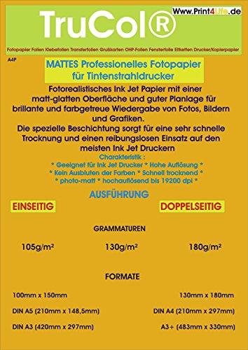100 Hojas de tamaño A4 Papel fotográfico Mate 105g /m² Papel Revestido. Mate Recubierto de Papel fotográfico Premium Inkjet para copias a una Cara