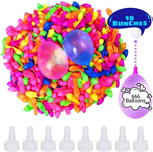 Water Balloons for Kids Girls Boys Balloons Set Party Games Quick Fill 666 Balloons 18 Bunches for Swimming Pool Outdoor Summer Fun