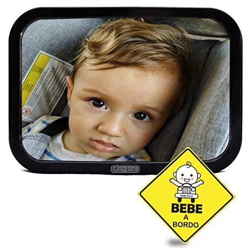 ESPEJO RETROVISOR DE BEBE PARA EL ASIENTO TRASERO DEL COCHE, conduce sin perder el contacto del bebe. Espejo bebe coche contramarcha| Fácil instalación| Pegatina bebe a bordo