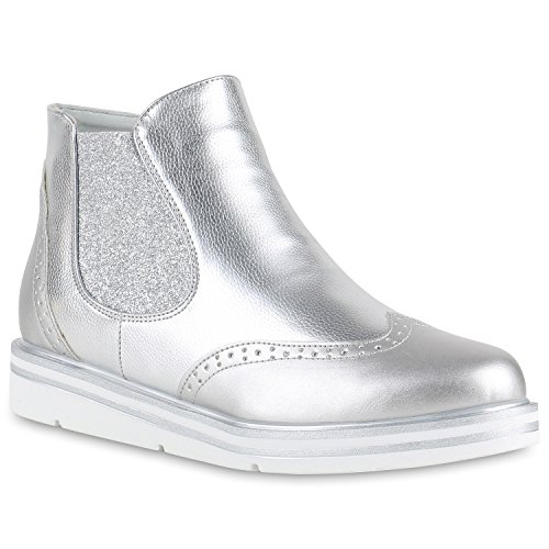 Damen Stiefeletten Chelsea Boots Plateau Strick Zipper Glitzer Booties Lack Plateau Wedges Schuhe 132134 Silber Glitzer 39 Flandell