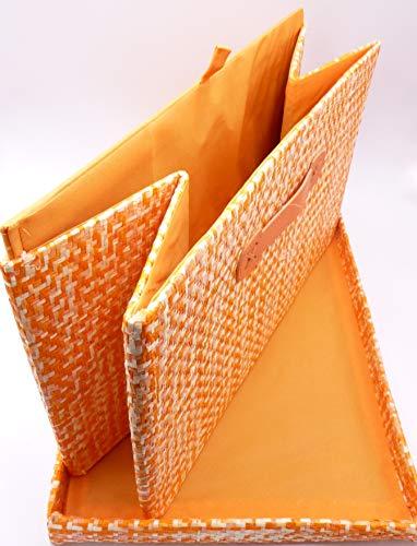G.B. Caja de tela plegable con tapa y fondo rígido (43 x 28 x 26 cm), color naranja