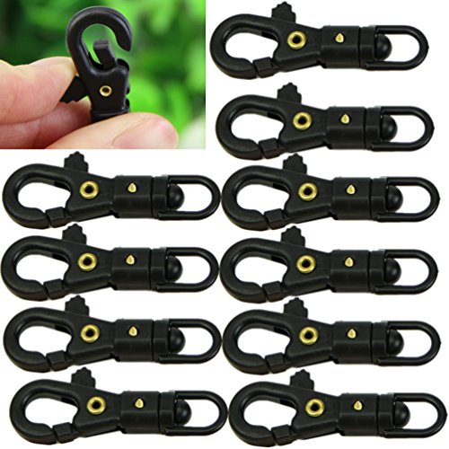 Heroneo ® 10 Stück Survival Mini (mit Schnalle, drehbar, zum Quickdraw Schlüsselanhänger EDC Werkzeug