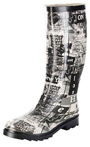 ConWay Gummistiefel schwarz Regenstiefel Damen Stiefel Schuhe Newspaper, Farbe:schwarz, Größe:38 EU
