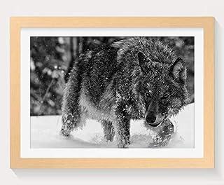 雪のオオカミ -動物 -#23881 - 木製フォトフレーム 写真フレーム 木製 の枠 装飾画 壁掛け 壁飾り 壁ポスター 木製タグ おしゃれ ウォールアート アートパネル 壁の絵 インテリア絵画 額縁 部屋飾り 贈り物 プレゼント 黒と白 横 30×40cm