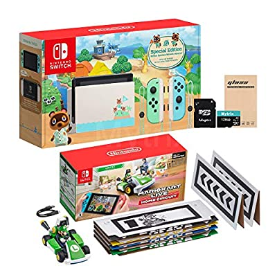 NS Console and Kart Holiday Combo: Switch Animal Crossing 32GB Console, Mario Kart Live: Home Circuit Luigi Set, Mytrix 128GB MicroSD with Adapter and Tempered Glass Screen Protector