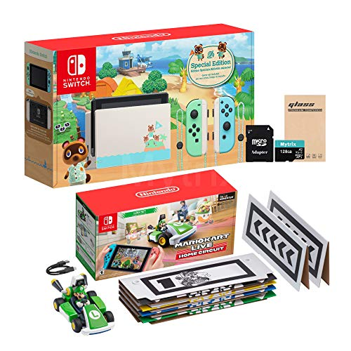 Console NS e Kart férias Combo: Troca Animal Crossing 32GB Console, Mario Kart ao vivo: Início Circuit Luigi Set, Mytrix 128GB MicroSD com adaptador e tela de vidro temperado Protector