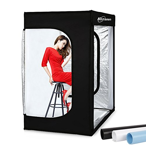 Professional Photo Light Box Large LED Dimmable Shooting Tent 47x39x78inch Photography Studio Continuous Lighting Cube Softbox Tents for Portrait Furniture Clothing Photography with 3 Colors Backdrops
