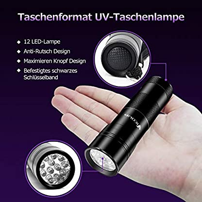 Puaida UV Black Light Torch 12 LED UV Lamp 395NM Urine Detector for Dried Stains of Your Dogs and Other Pets on Carpets, Curtains, Furniture Includes 6 x AAA Batteries 2