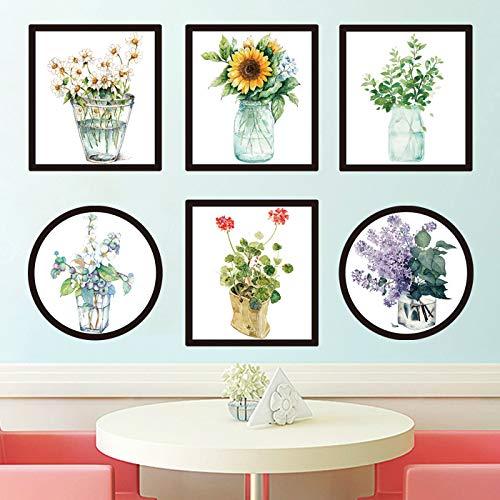 Pegatinas de pared con pintura al óleo literaria para sala de estar, dormitorio, porche de papel, autoadhesivas, para jardín, planta y decoración floral