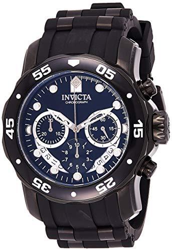 Invicta Men's Pro Diver Scuba 48mm Black Stainless Steel Quartz Watch with Black Silicone Strap, Black (Model: 6986)