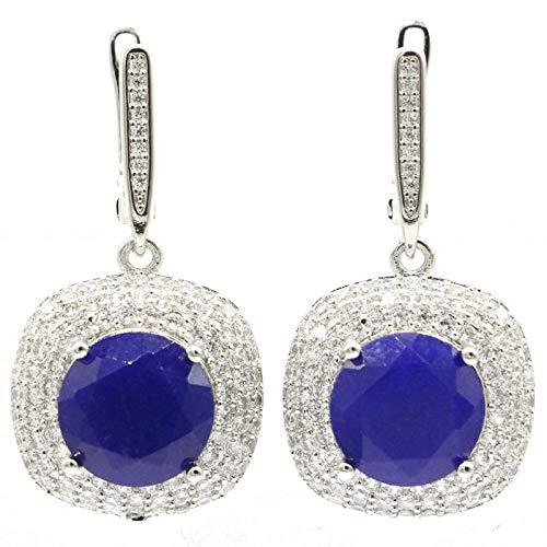 Aretes 33x18mm Nueva Joyería De Declaración Para Mujer Pendientes De Plata Zafiro Azul Real Zircon Joyería Fina Llamativo