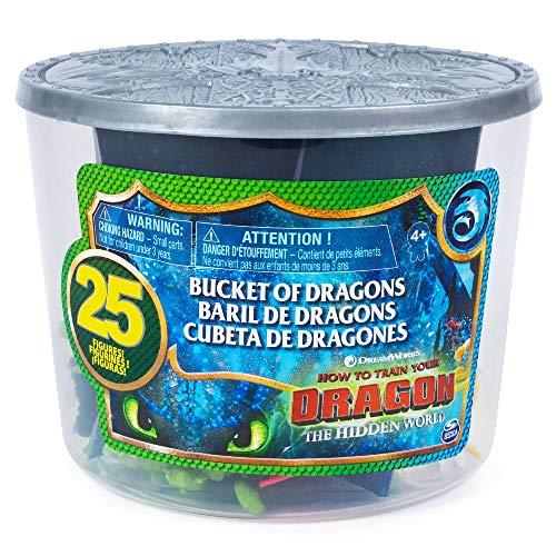 Dragons, il Mondo Nascosto, Secchiello con Draghi e Vichinghi, 25 Personaggi da Collezionare, Alti 4 cm, dai 4 Anni in su