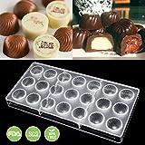Jeteven 3D Moule en Polycarbonate pour Chocolat Moule pour Plateau à Bonbons (21 Grilles de Fil Rond)