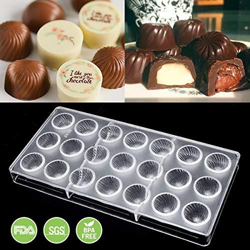 Jeteven® 3D Schokoladenform Pralinenform Backform Backzubehör aus Polycarbonat (PC) Transparent, für die Herstellung von Schokolade Süßigkeiten EIS, BPA-frei, FDA und SGS geprüft (Muster (21 Stücke))