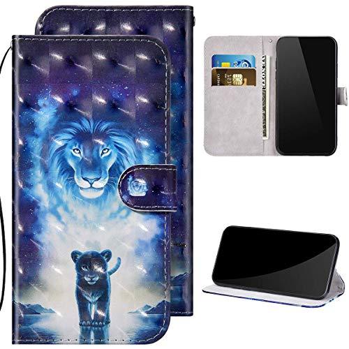 Kompatibel mit Samsung Galaxy A21 Hülle Ledertasche Brieftasche Schutzhülle Flip Case,3D Glitzer Glänzend Bunt Bemalt Muster PU Leder Klapphülle Tasche Handyhülle für Galaxy A21,Löwe