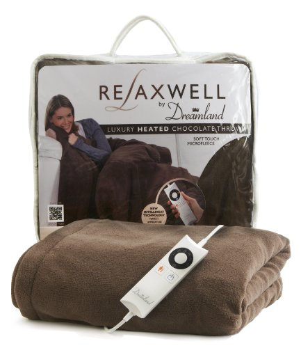 Relaxwell by Dreamland 16082 Luxury Heated Throw with Intelliheat - Chocolate