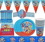 Tomicy Juego de vajilla reutilizable para fiestas, Paw Patrol fiestas de cumpleaños infantiles, platos, tazas, servilletas, manteles, tenedores, banners, decoración de cumpleaños para niños 62 piezas