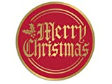 Christmas Seals and Labels - Merry Christmas Foil Gold & Red Seals 2' Round - 50 Labels Made in USA