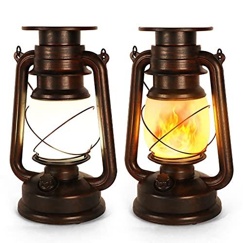 Farolillos Solares Exterior, Lampara Solar Jardin Exterior, IP65 Impermeable, Lámpara Decorativa Exterior de Bronce Retro con Efecto Llama, Adecuado para Jardín, Terraza, Pasillo