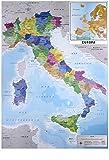 Mapa Físico Político de Italia (61cm x 91,5cm) + 1 Póster con Motivo de Paraiso Playero