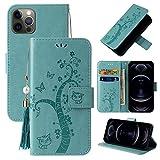 Miagon Portafoglio Flip Custodia per iPhone 12 Mini,Carina Farfalla Albero Gatto Design PU Pelle Libro Stile Magnetica In piedi Funzione Cover,Verde