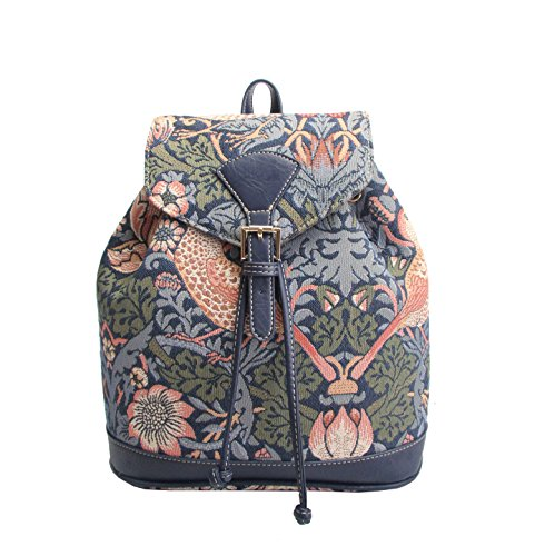 Signare Tapestry Fashion Backpack Rucksack for Women with Floral and Garden Design (Strawberry Thief Blue, RUCK-STBL)