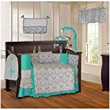 BabyFad Damask Turquoise 10 Piece Baby Crib Bedding Set