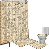 Juego de cortinas baño Accesorios baño alfombras Mapa Alfombrilla baño Alfombra contorno Cubierta del inodoro Altamente detallado Antiguo Grunge Mapa del tesoro Aventura Isla de vela Viaje Viaje Decor