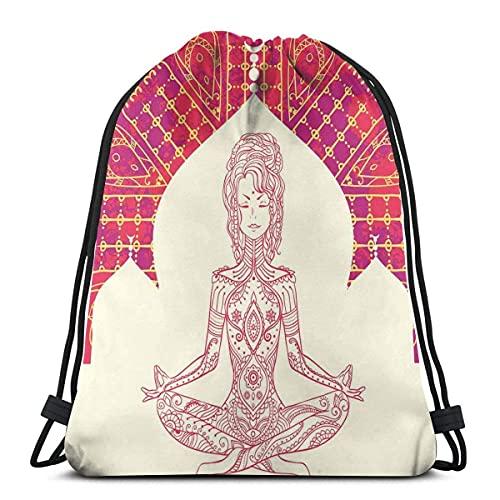 Eastren Inspired Lady Doing Yoga Motivo su sfondo bohemien Grungy Look Stampato, Chiusura a Stringa Regolabile Stampato Coulisse Zaini Borse