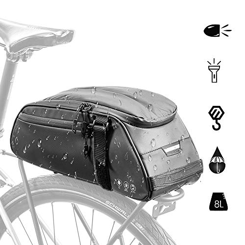 AUTOWT Bike Reflective Rack Bag, Water Resistant Bicycle Rear SeatPannier Cargo Trunk Storage Cycling Carrier Chest Bag with 8L Capacity Multi Pocket Taillight Loop for Commuter Outdoor Traveling