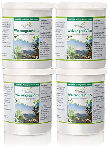 CELLAVITA Bio tarwegras tarwegraspoeder Vita 4 x 500g | 100% natuurlijk | uitstekende vitale stofgehalte | | Superfood