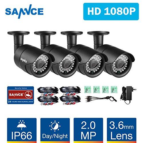 SANNCE Kit 4 Telecamere di Sicurezza AHD 1080P da Interno/Esterno Videosorveglianza Bullet Camera Visione Notturna, IR-Cut