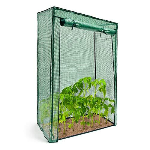 Relaxdays Tomatengewächshaus Stahlrohr u. Folie 150 x 100 x 50 cm (HxBxT), stabiles Treibhaus f. Balkon u. Garten, grün