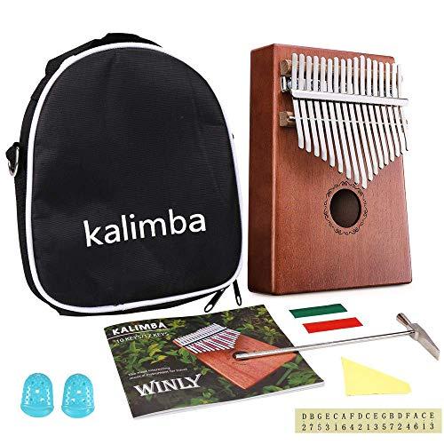 Kalimba 17 Schlüssel - Kalimba Daumenklavier, mit Lernanleitung und Stimmhammer, tragbares Mbira Sanza afrikanisches Holz Finger-Klavier für Kinder Erwachsene Anfänger