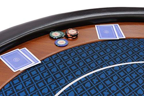 Riverboat Gaming Kompakte Faltbare Pokerauflage mit wasserabweidenden Stoff und Tasche – Blau Pokertisch 120cm - 2