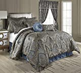 Chezmoi Collection Seville 9-Piece Jacquard Blue Gold Medallion Paisley Comforter Bedding Set Queen Size