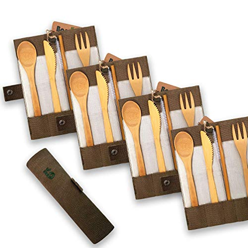 Bambaw Bamboo Cutlery Set | Travel Cutlery Set | Eco Friendly Flatware Set | Knife, Fork, Spoon and Straw| Wooden Cutlery Set | Camping Cutlery Set with Travel Pouch | 7.9 Inch | Olive